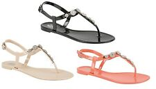 LADIES JELLY TOE POST SANDALS WOMENS DIAMANTE JELLY SUMMER BEACH FLAT GIRL SIZE