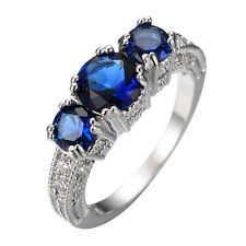 New Rings Blue CZ Cubic Zirconia 10Kt White Gold Filled Unisex Wedding Size 6-10