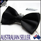 MENS BLACK BOW TIE Bowtie Pre-tied wedding formal bowtie tuxedo solid plain