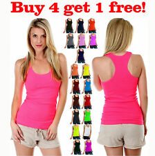 Womens Ribbed Racer Back Scoop Neck Tank Top Yoga Cami Fitness Tee Shirt New