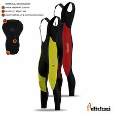 Thermal Tight Fit Da Uomo Ciclismo Bib Tights Pantalone Lungo Imbottito Bici Legging