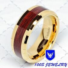 Men's Tungsten Carbide Red Wood Inlay Gold Plated Wedding Band Ring Size 8-13