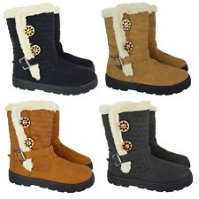 WOMENS QUILTED WINTER FUR LINED LADIES FASHION SNOW ANKLE BOOTS SHOES UK SIZES