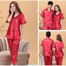 Couple Lady Men Red Wedding Faux Silk Short Sleeved Sleepwear Pajamas Suits New