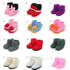 Baby Shoes Boots Toddler Infant Handmade Knit Crochet Wool Flower Tassel Bowknot
