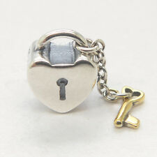 New 925 Sterling Silver & W14K Gold Key to my heart Love Charms bead For Gift