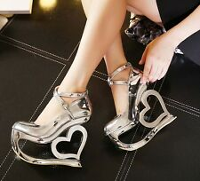 New fashion patent leather shoes Round head high heeled wedge Nightclubs shoes