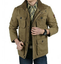 OUTDOOR NEW MEN's CARGO JACKETS CASUAL COTTON WIND COATS TRAVEL ARMY GREEN Plus