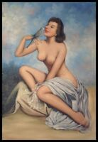 """36""""x24"""" Oil Painting on Canvas, Female Nude & Bird, Hand Painted"""