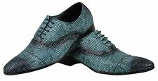 Blue Mens Real Leather Snake Skin Print Vintage Oxford Lace up Party Shoes