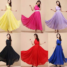 Hot Ladies Sexy Boho Summer Beach Evening Party Long Maxi plus Dress Chiffon