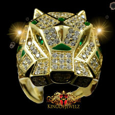 REAL SILVER MEN GOLD FINISH TIGER JAGUAR CAT SIMULATE GREEN EMERALD RING BAND