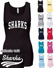 Sharks Junior Rib Tank Top Personalized Custom Name and Number 100% Cotton