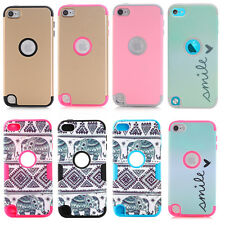 For iPod Touch 5th 6th Gen Hard Soft Rubber High Impact Armor Case Hbrid Cover
