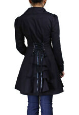 Corset Jacket Gothic Goth Punk Long Black Trench Coat Victorian Bustle