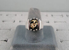 MEN'S MARINE CORP CREATED RUBY HEAVY STERLING SILVER RING 2ND