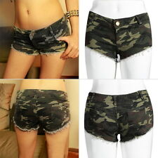Sexy Women's Camouflage Jeans Short Shorts  Denim Low Waist Hot Pants FT