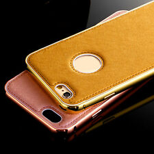 Luxury Aluminum Metal Frame Leather Back Skin Case Cover For iPhone 6 6 PLUS /5S