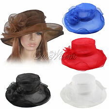 Women Dress Church Wedding Kentucky Derby Sheer Wide Brim 4 color Organza Hat