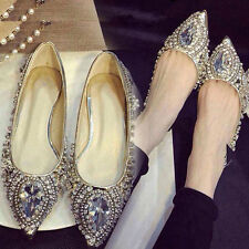 Womens Gems Pointed Flats Shoes Silver Size 7007#