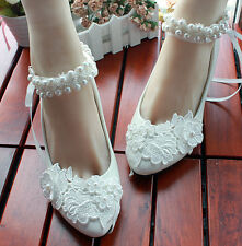 Grace Womens Ankle Beaded Strap White Lace Bridal High Heels Party Wedding Shoes