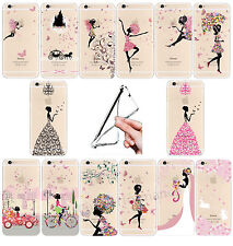 Ultra Thin Fashion Girl Pattern Clear Soft  Case For iPhone 4/4s/5c/5s/6 Samsung
