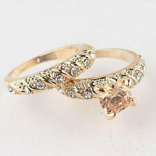 Solid 18K Gold Filled Crystal Diamonds Engagement Wedding Ring 7 8 9