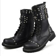 New Mens Lace Ups Rivet Studded Buckle Strappy Mid Calf Boots Snow Knight Shoes