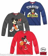 Boys Disney MICKEY MOUSE Long Sleeve CHARACTER TOP T- Shirt 2 3 4 5 6 7 8 Years