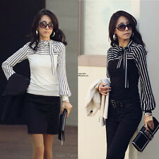2015 Fashion Women Long Sleeve Bowknot Neck Striped Slim Casual Shirt Top Blouse