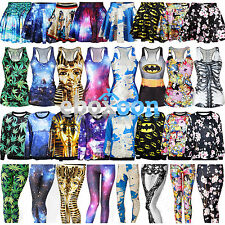 48Types Women 3D Digital Dress Gothic Leggings Skater Figurbetontes T-Shirt Vest