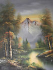snowy mountains view river water trees forest oil painting canvas original art