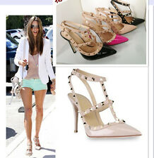 Women Pointed Toe Studded Ankle Strap Pump Stiletto Rivet Prom Court Shoes Heels