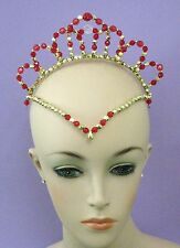 *Ready to post* RED & GOLD BEADED Olivia TIARA Ballet Crown Headpiece