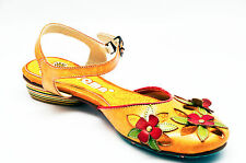 Yoma Women Yellow Leather Sandals with flower details, multi-colored