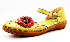 Yoma Women Green Leather Sandals with flower details, multi-colored