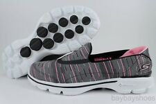 SKECHERS GOWALK GO WALK 3 RESISTANCE BLACK/PINK/GRAY BREAST CANCER LOAFERS WOMEN