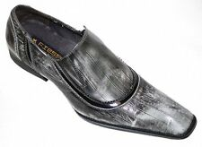 New Mens Fiesso Black White Eel Print Patent Leather Loafer Style Shoes FI8235