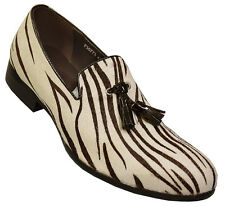 New Mens Fiesso White Black Zebra Hair Genuine Leather Tassel Style Loafer Shoes
