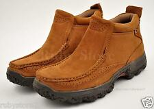 Men's Brown Hiking Work Boots Shoes Genuine Leather Slip On Slip Resistant 2411