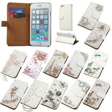 Wallet Case Cover Diamond Card Slot Leather Bling Flip Stand For Apple iPhone