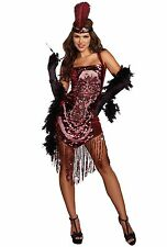 Sexy red sequins saloon girl flapper dress costume