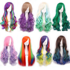 New Europe Harajuku curly wavy gradient color lolita cosplay party long hair wig