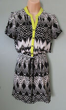WOMEN'S BLACK AND WHITE PRINT ROMPER - SHORTS - JUMPSUIT - NEW DIRECTIONS -