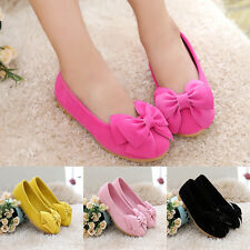 Girl Children Kid baby Flower PU Bow Flats Dress Party Princess Shoes