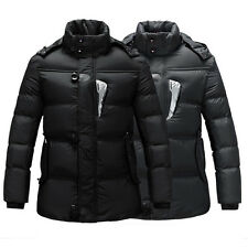 Vintage Men's Warm Jackets Parka Outerwear Trench lined Winter Slim Coat Hooded