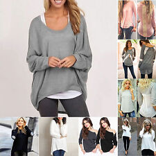 Plus Size Women Ladies Long Sleeve Shirts Blouse Casual Loose Tee Tops UK 6-24