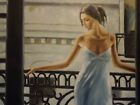 sexy woman dress on balcony large oil painting canvas lady contemporary modern