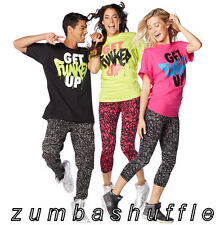 ZUMBA FITNESS Get Funked Up Tee BLACK GREEN PINK T-shirt - NEW!!!
