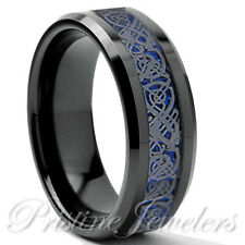 Black Tungsten Carbide Mens Ring Gunmetal Silver Celtic Dragon Blue Carbon Band